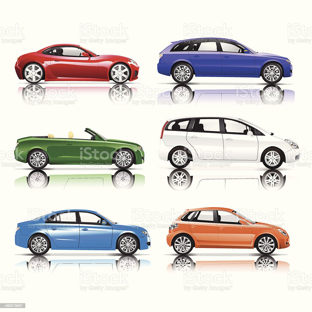 Collection of 3D Cars Vector vector art illustration