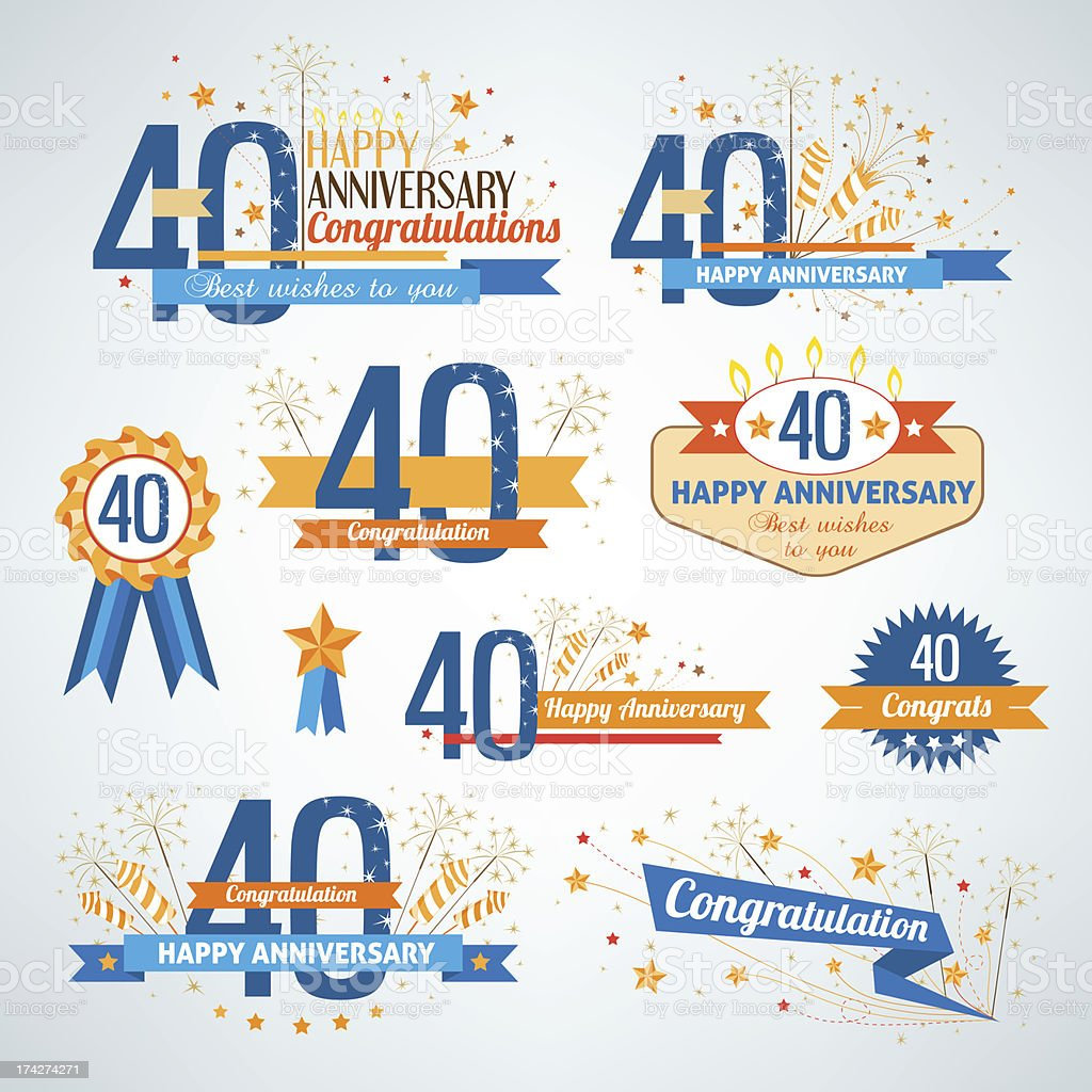 Collection of 40th anniversary design element icons vector art illustration