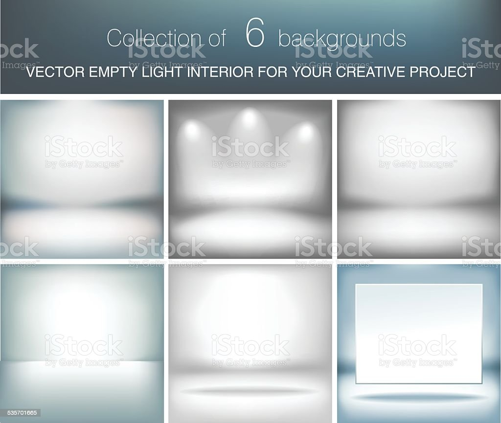 Collection of 6 vector empty light interior for your project vector art illustration