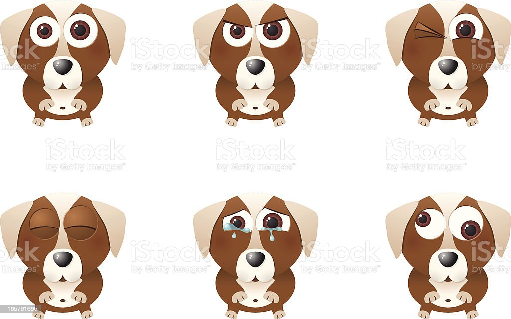 Collection of a big-eyed dog with different facial expressions vector art illustration