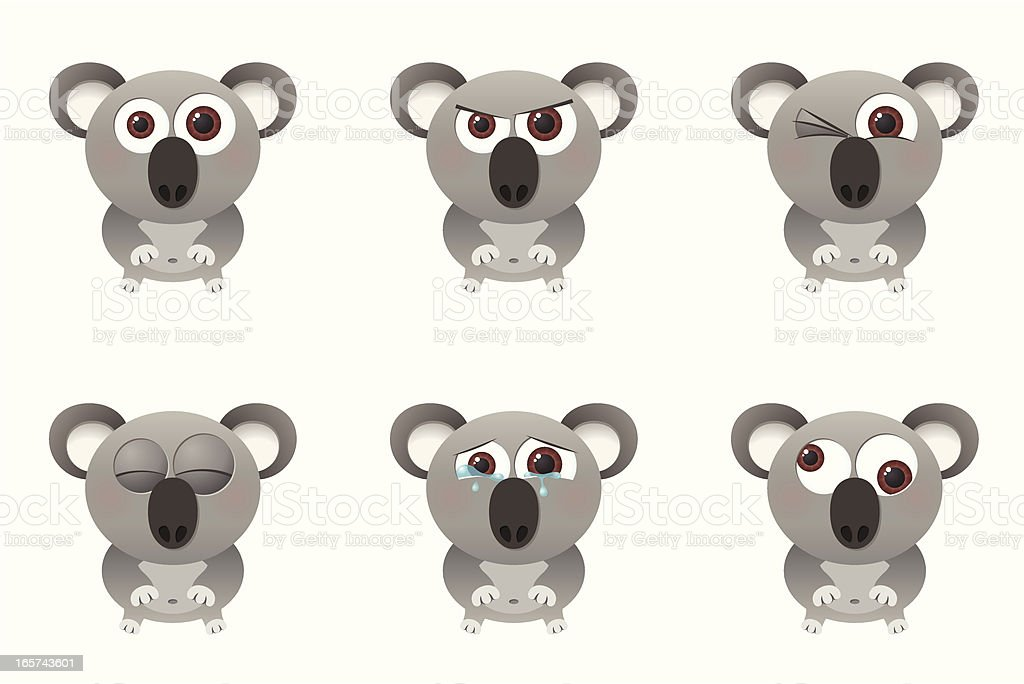 Collection of a big-eyed koala with different facial expressions vector art illustration