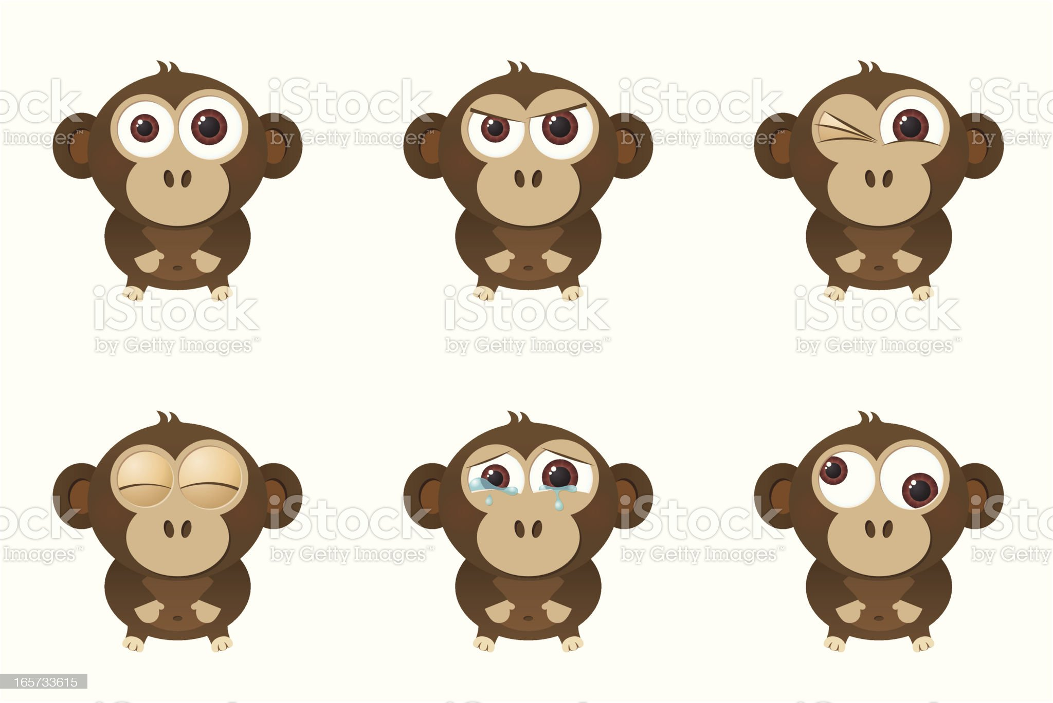 Collection of a big-eyed monkey with different facial expressions royalty-free stock vector art