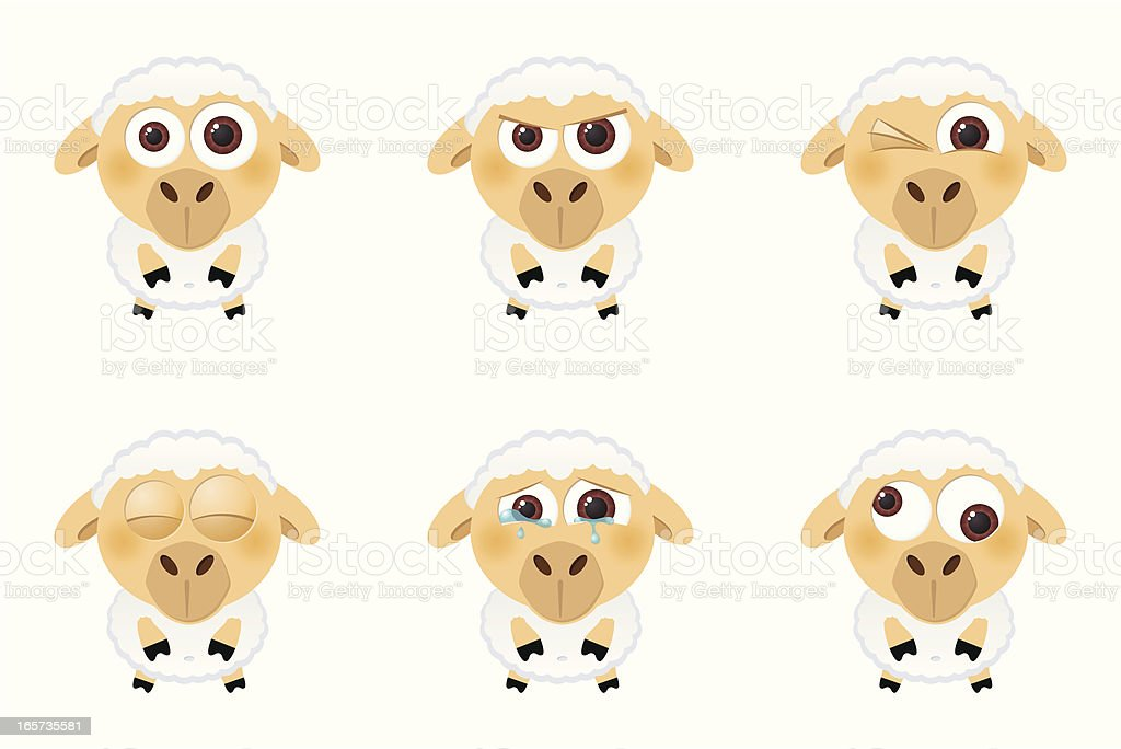 Collection of a big-eyed sheep with different facial expressions vector art illustration
