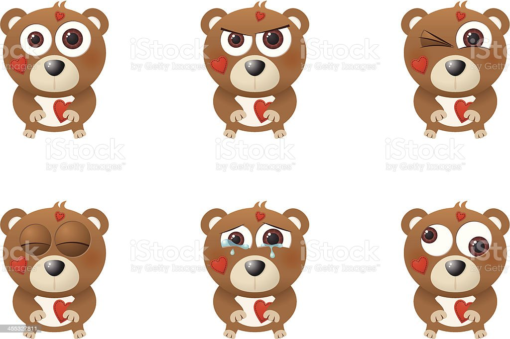 Collection of a big-eyed Valentine's bear with different facial expressions vector art illustration