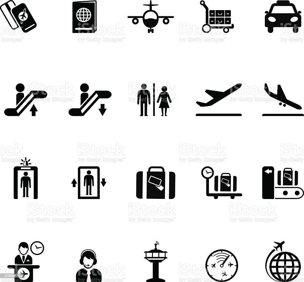 Collection of Airport icons vector art illustration