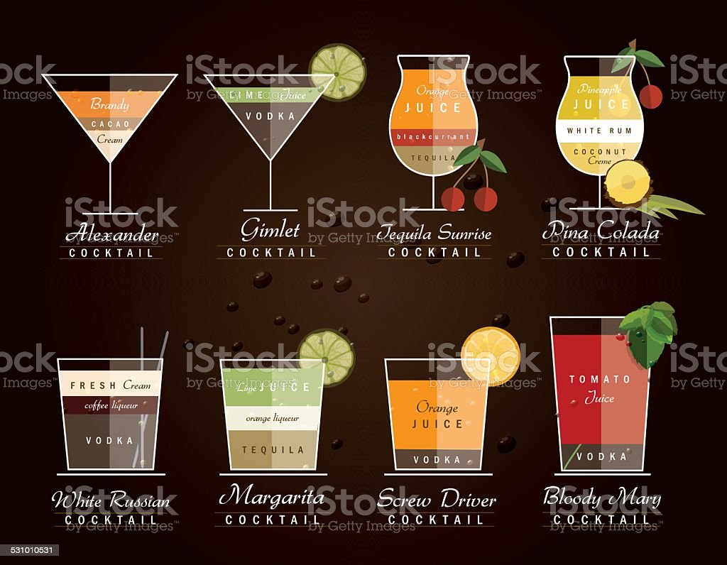 collection of alcoholic cocktail drinks with recipe measurements vector art illustration
