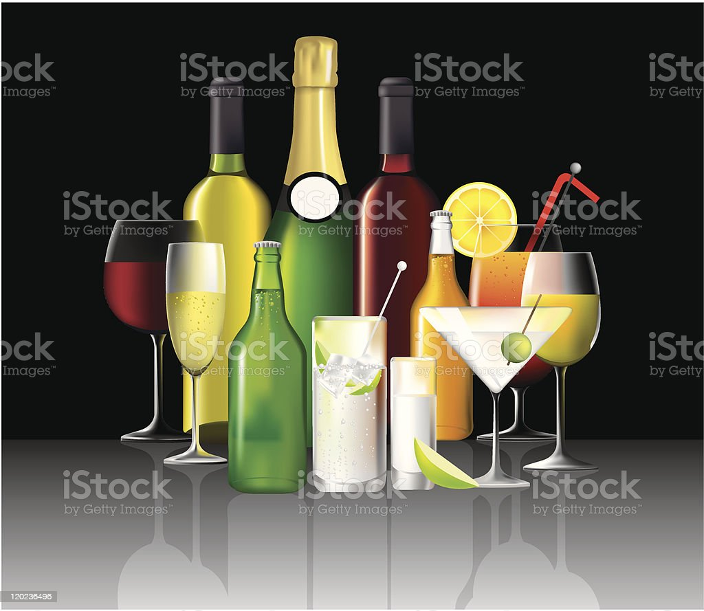 collection of alcoholic drinks royalty-free stock vector art
