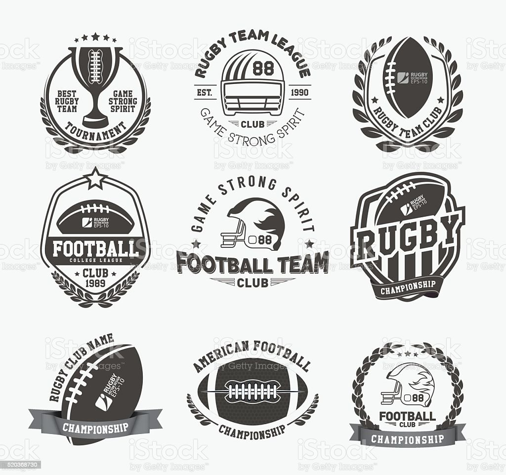 Collection of american rugby badges vector art illustration