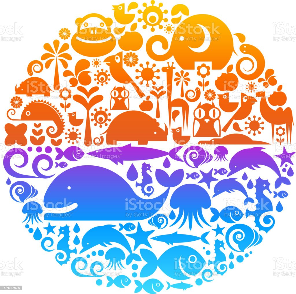 Collection of animals icons and symbols royalty-free stock vector art