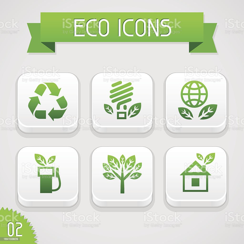 Collection of apps icons with eco elements. Set 2. royalty-free stock vector art