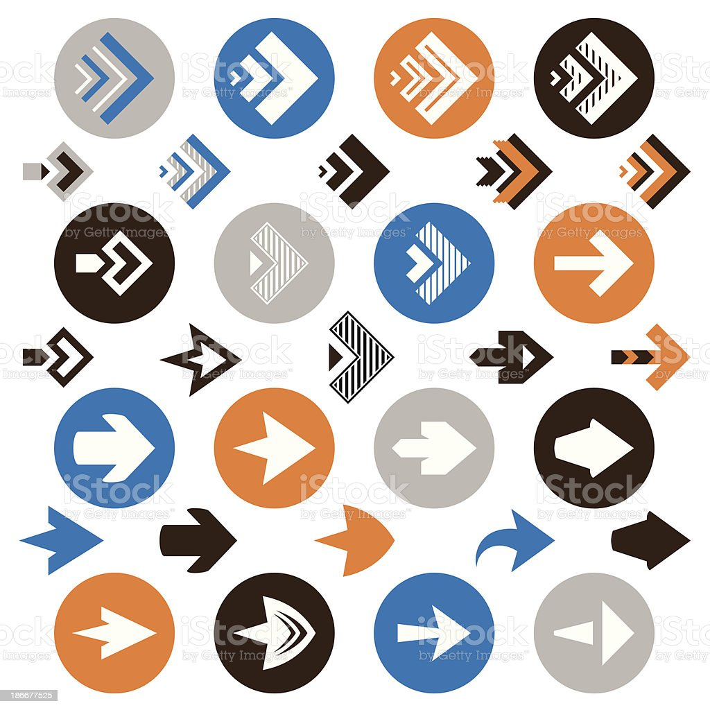 collection of arrow icons vector art illustration