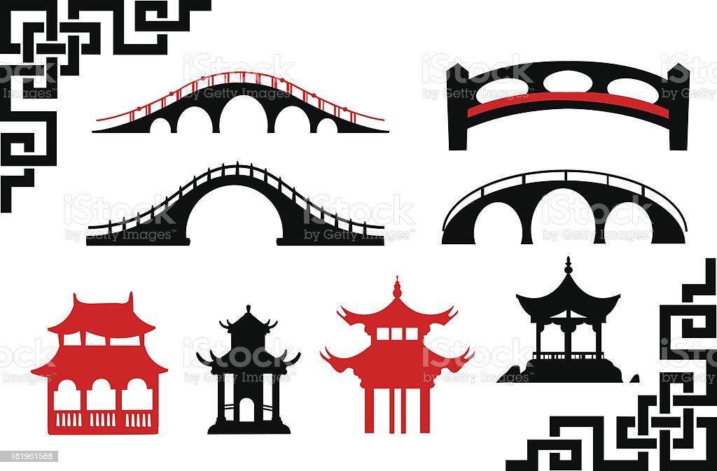 Collection of Asian Bridges vector art illustration