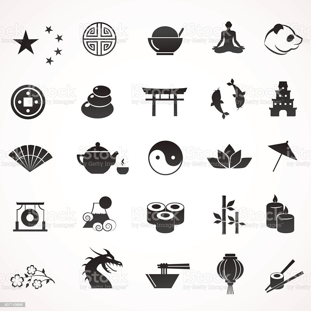 Collection of asian, chinese, japanese icons. vector art illustration