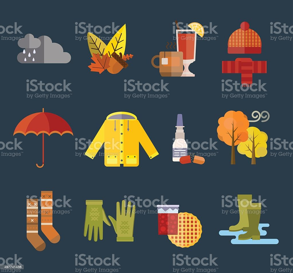 Collection of autumn clothes items vector art illustration