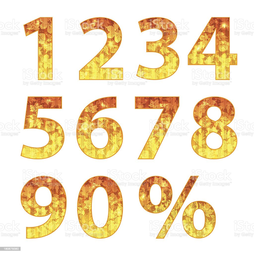 Collection of autumn numbers vector art illustration