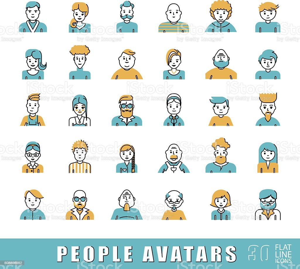 Collection of avatars related to various types of  people. vector art illustration