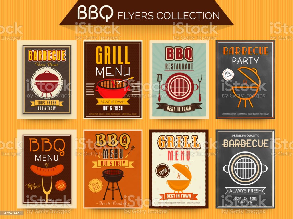 Collection of BBQ Menu Cards. vector art illustration