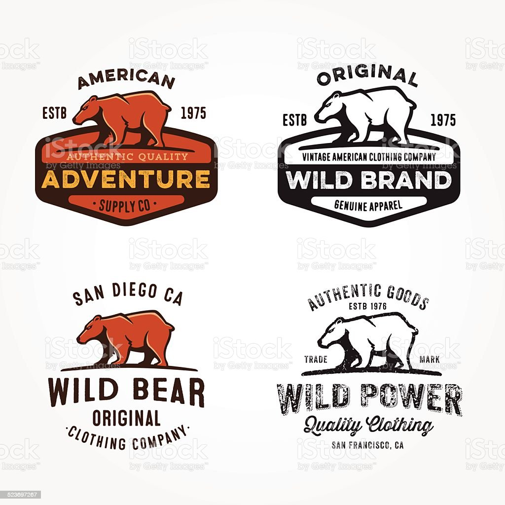 Collection of Bear badges, logos and design elements vector art illustration