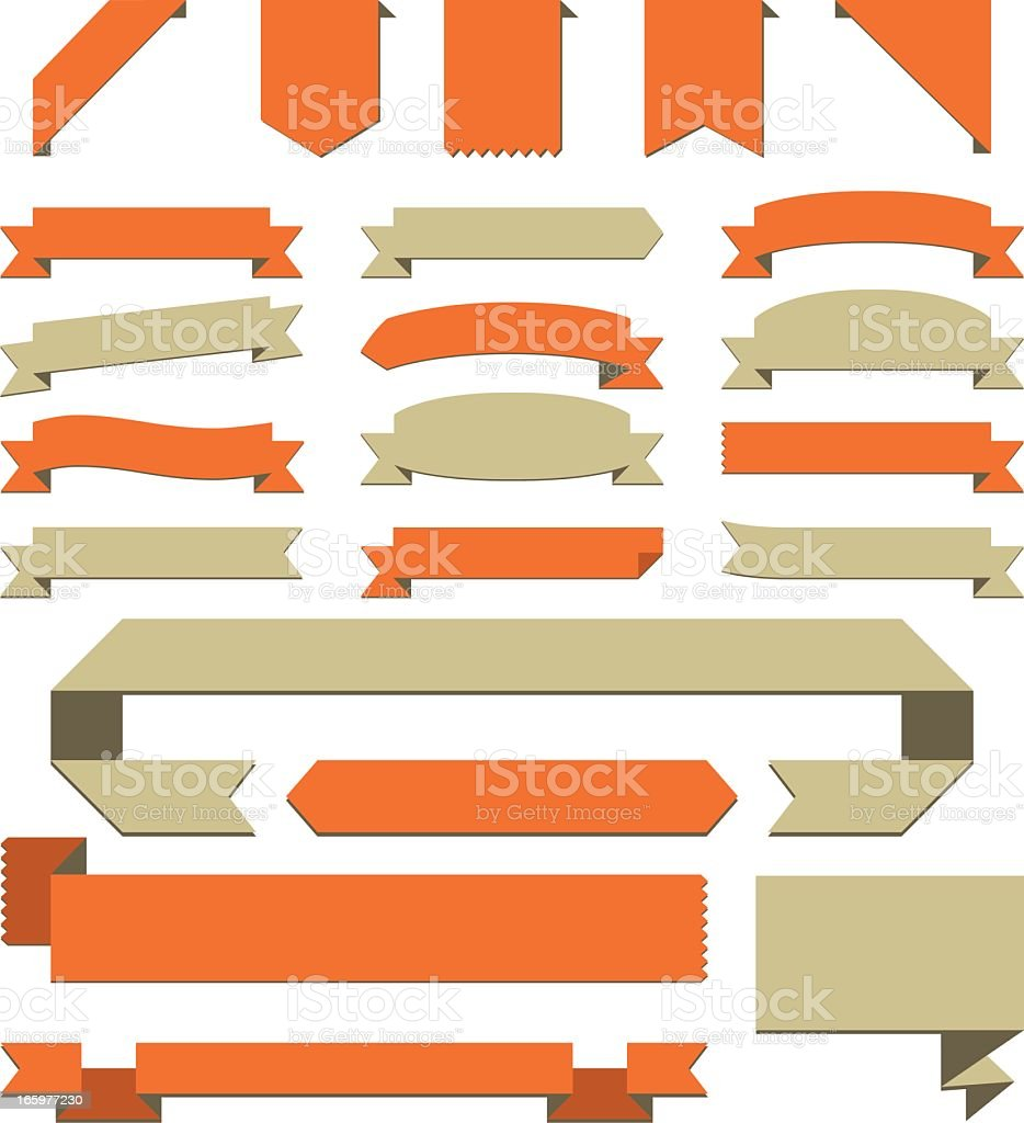 Collection of beige and red-orange banners royalty-free stock vector art