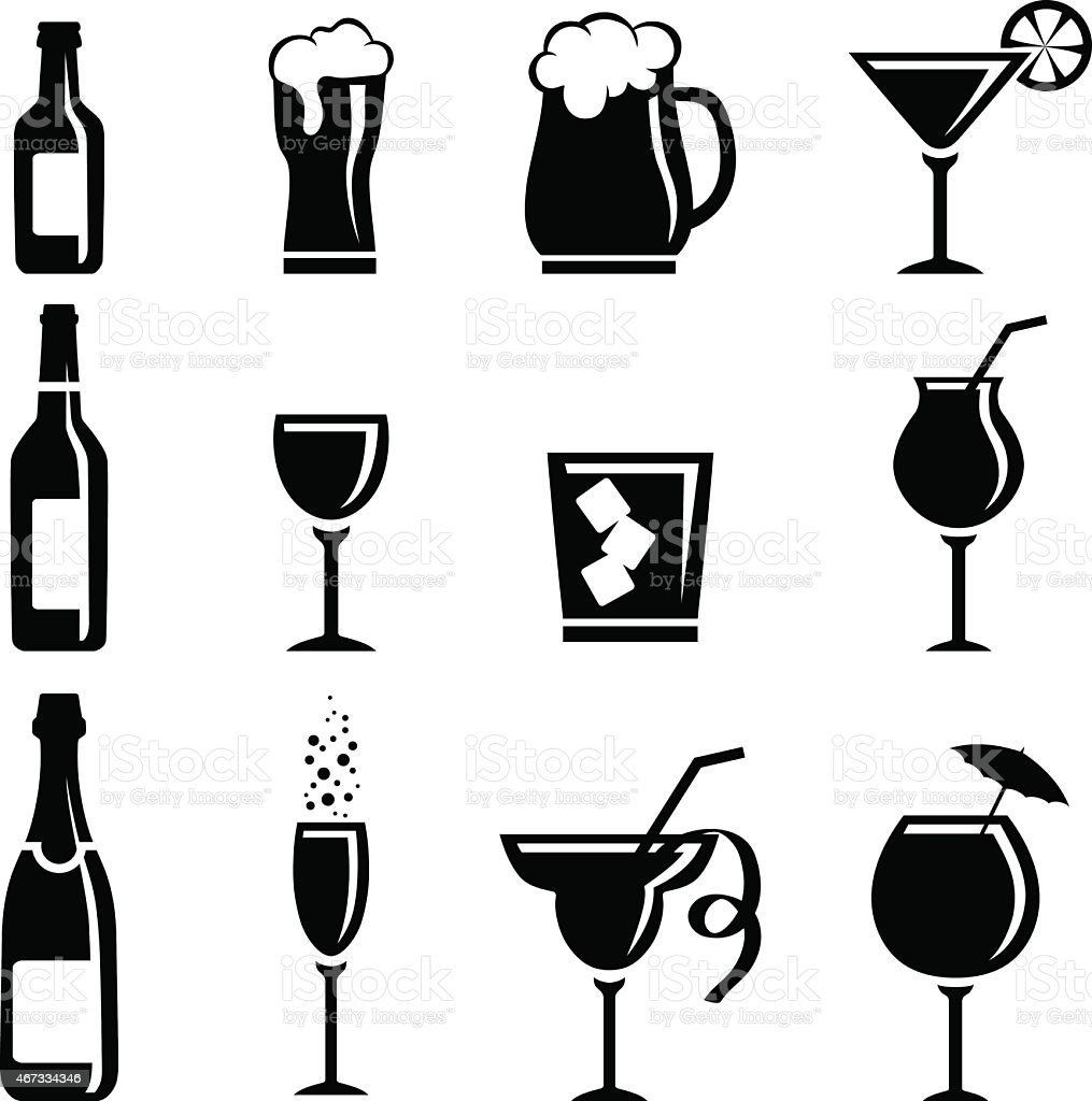 Collection of beverage vector art illustration