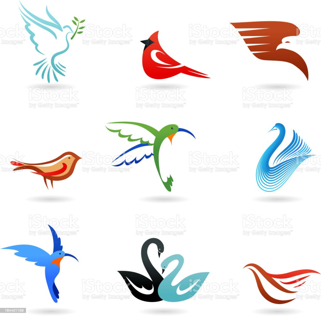 collection of birds icons vector art illustration