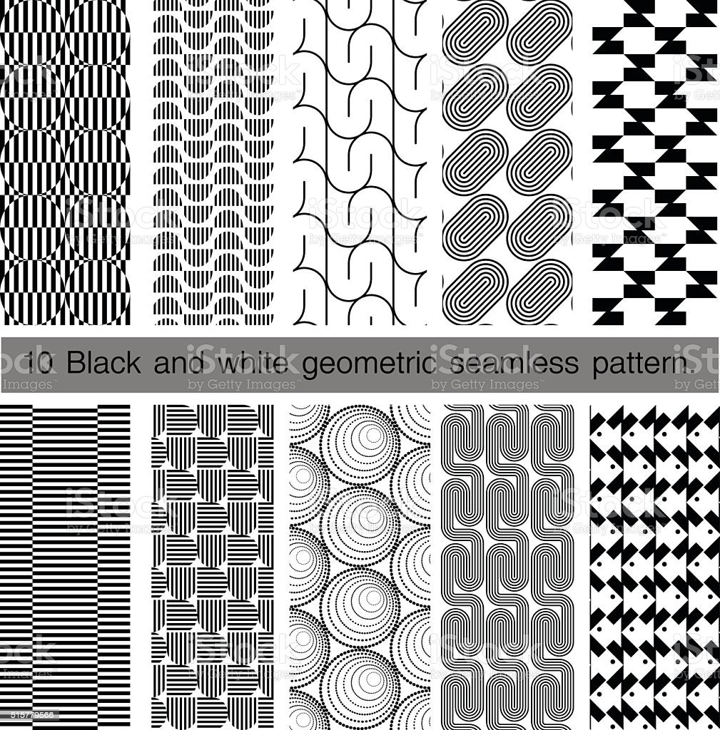 Collection of black and white geometric seamless pattern. vector art illustration