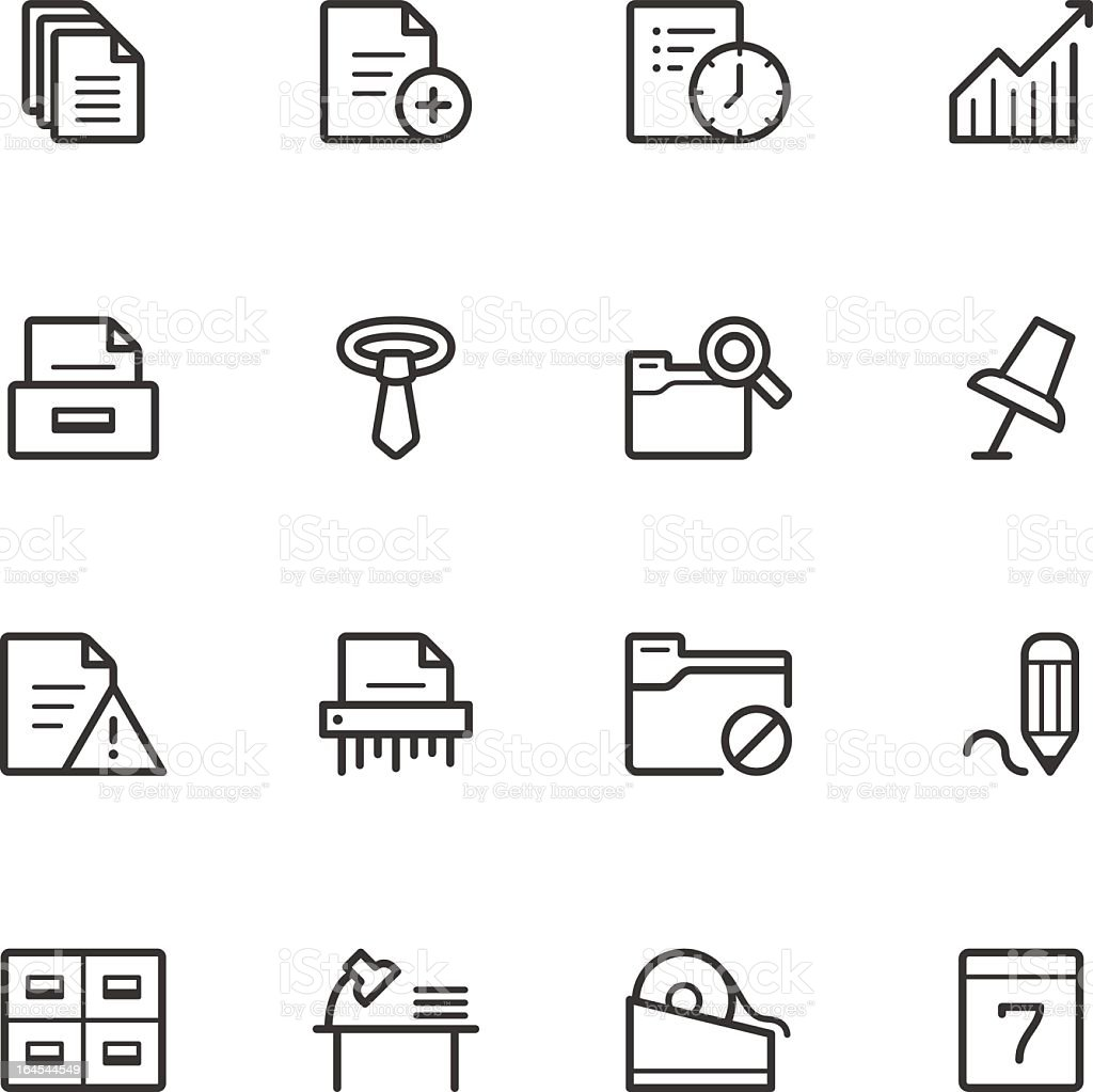 A collection of black and white office icons vector art illustration