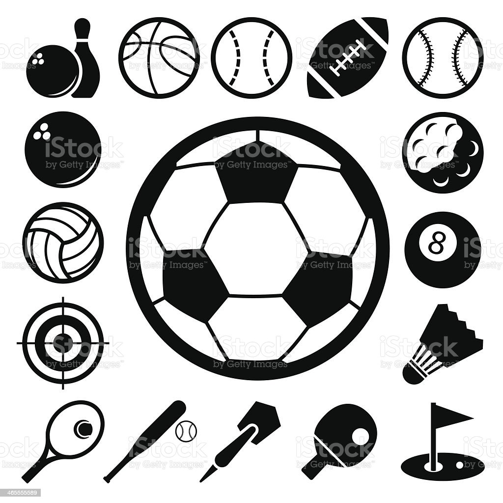A collection of black and white sport icons vector art illustration