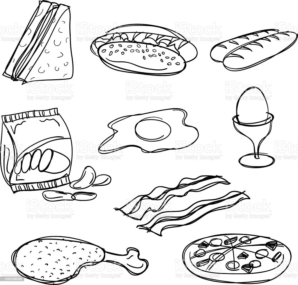 A collection of black food symbols on a white background royalty-free stock vector art