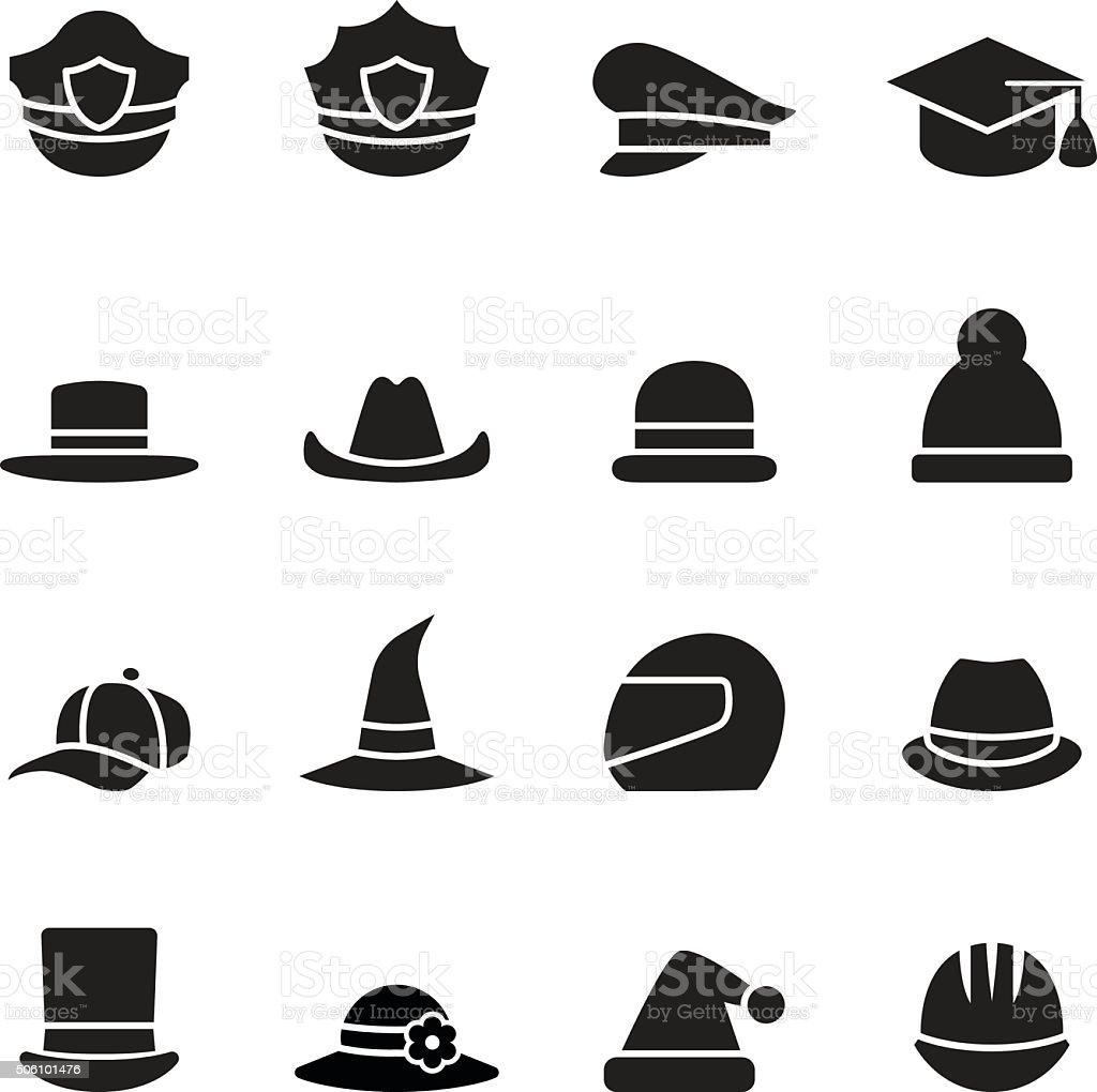 collection of black hat vector art illustration
