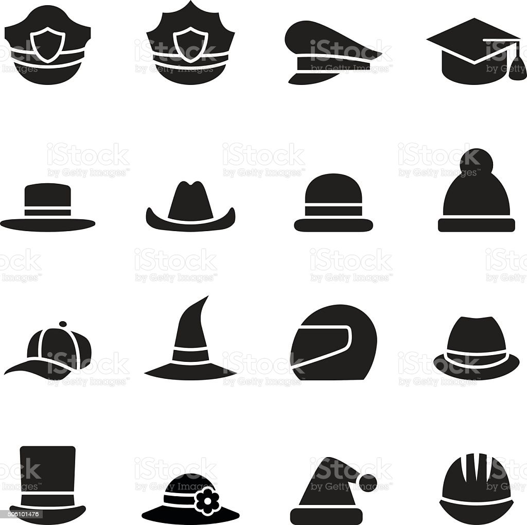 collection of black hat vector art illustration