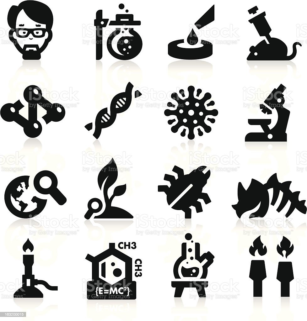Collection of black icons related to science and research royalty-free stock vector art