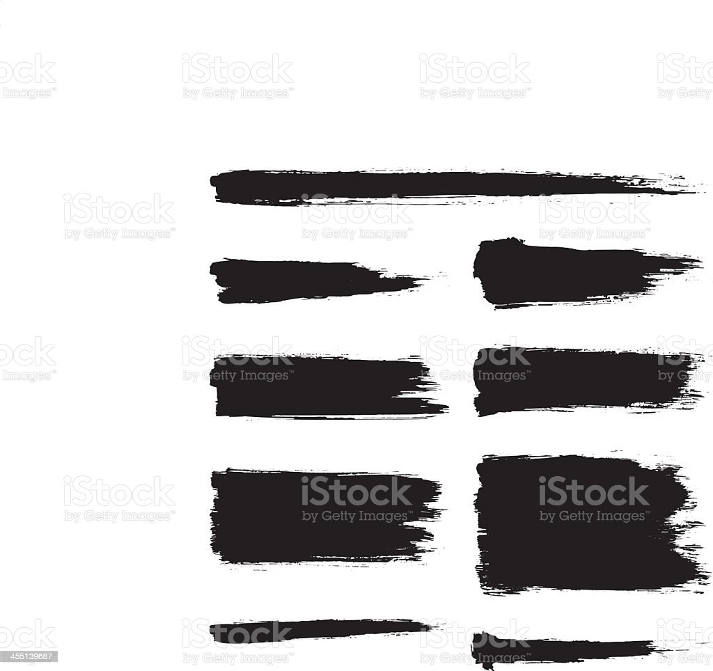 A collection of black ink strokes vector art illustration