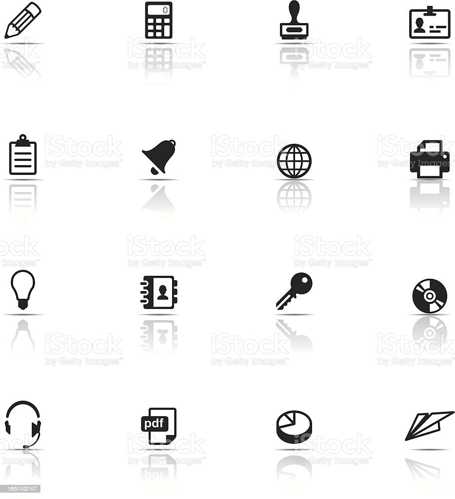 Collection of black office icons vector art illustration