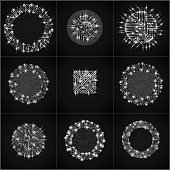 Collection of black vector microchip designs, cpu.