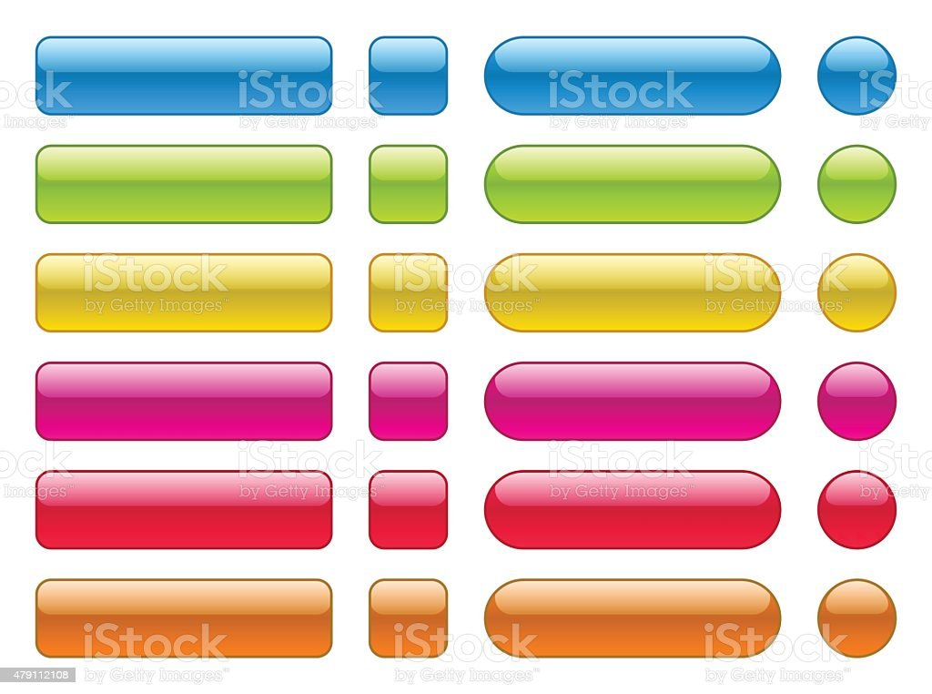 collection of blank colorful buttons vector art illustration