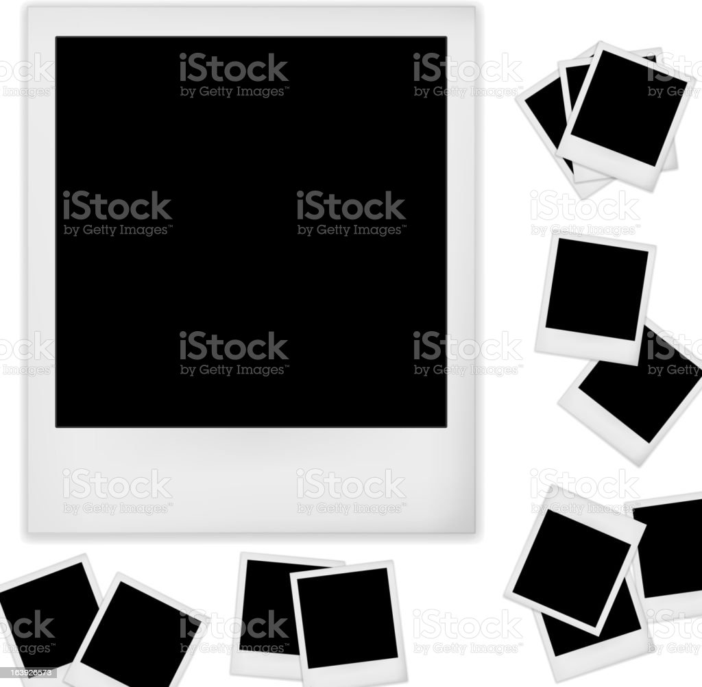 Collection of blank Polaroid photos vector art illustration
