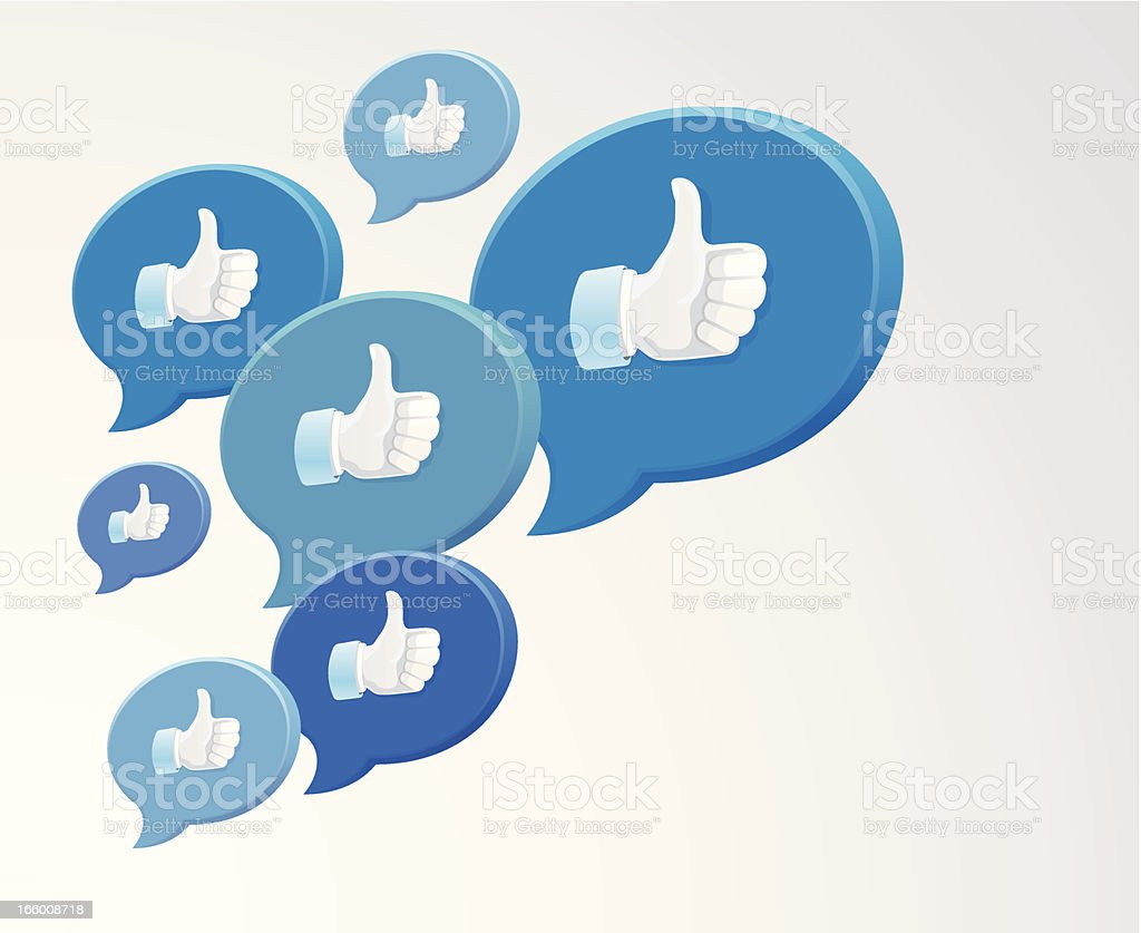 Collection of blue chat bubbles with thumbs up icons vector art illustration