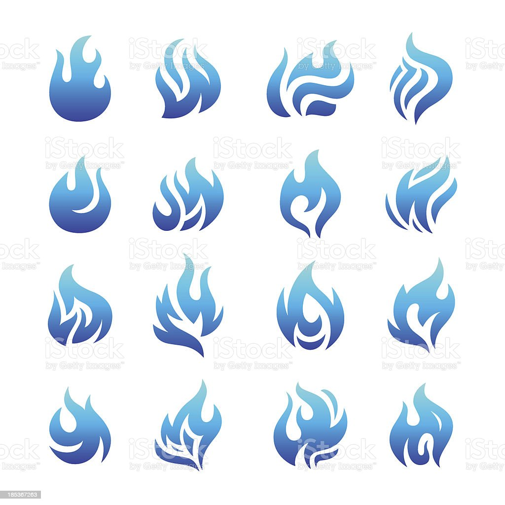 Collection of blue fire icons royalty-free stock vector art