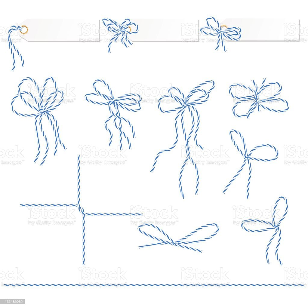 Collection of blue ribbons ahd bows vector art illustration