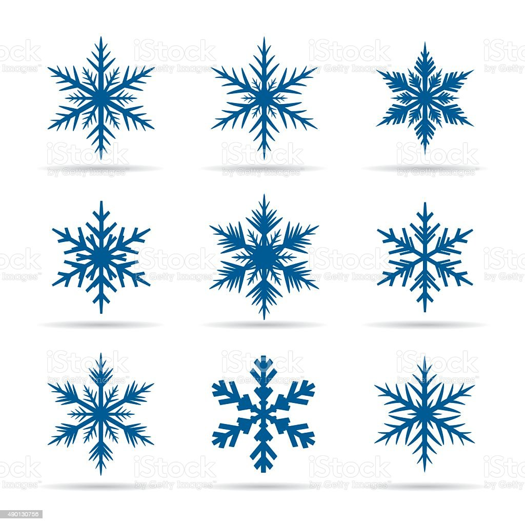 Collection of Blue Snowflakes. vector art illustration