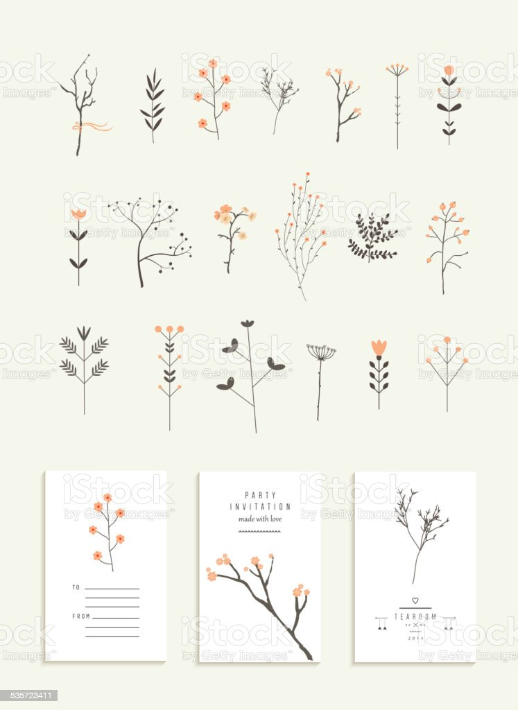 Collection of branches and flowers plus 3 romantic invitations. vector art illustration