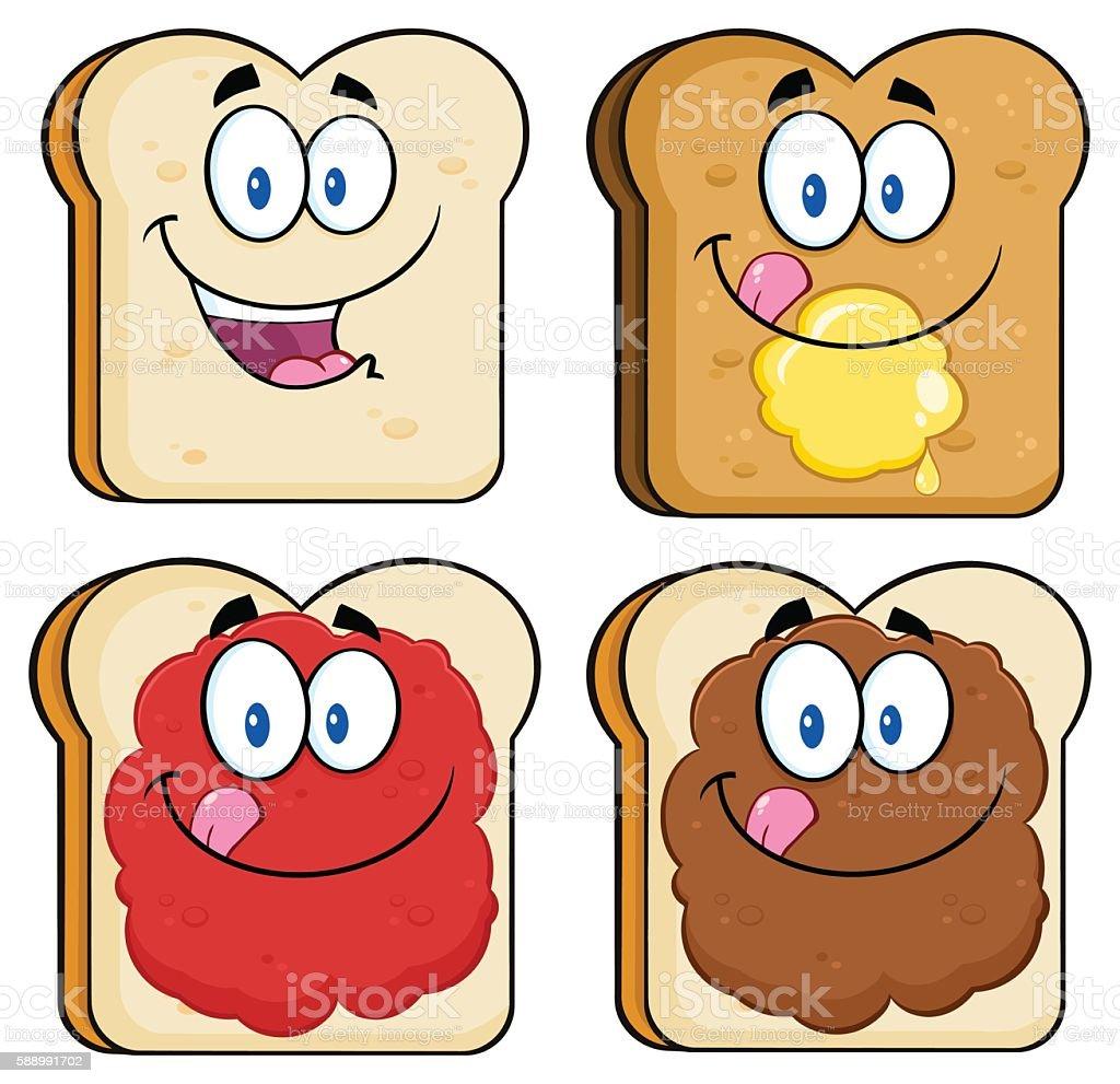 Collection of Bread Slice Mascot - 1 vector art illustration