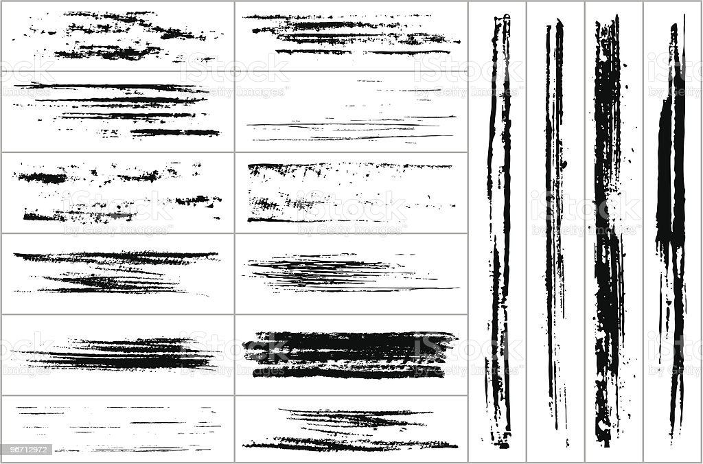 Collection of brush strokes on white background royalty-free stock vector art