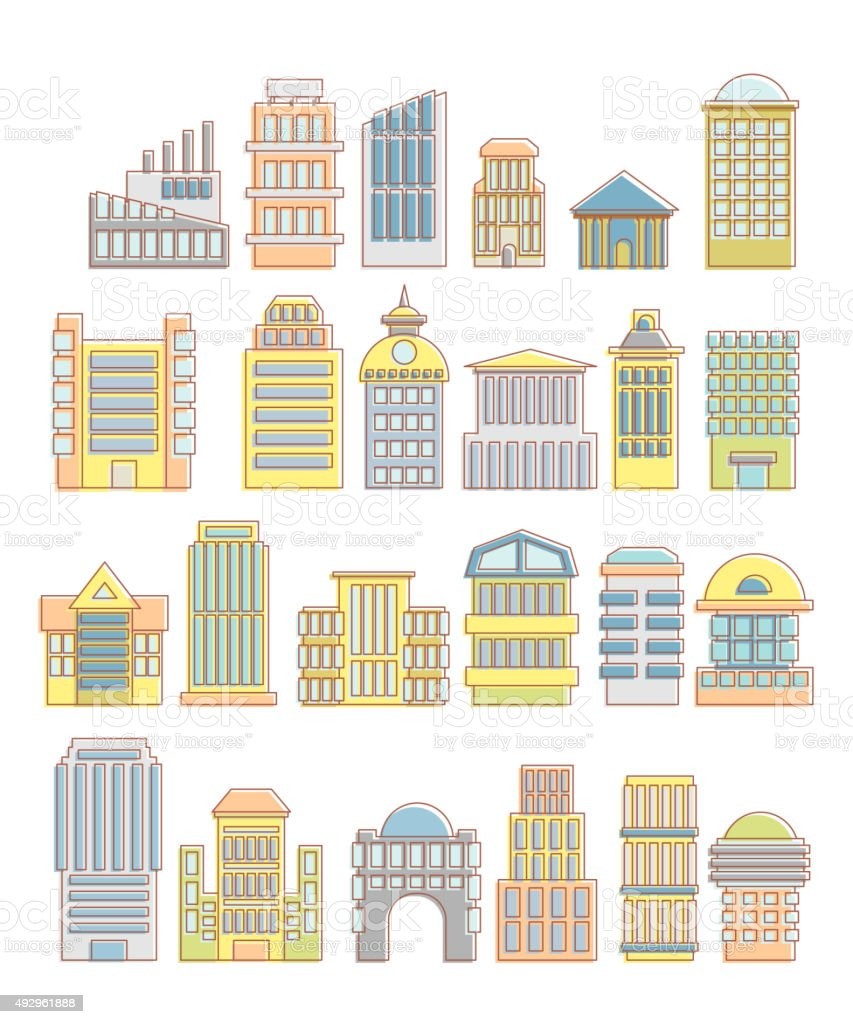 Collection of buildings, houses and architectural objects. Urban vector art illustration