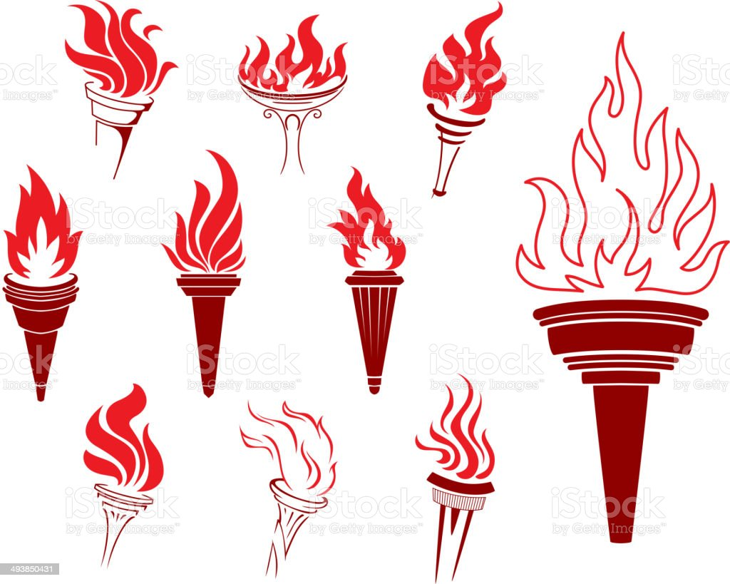 Collection of burning torches vector art illustration
