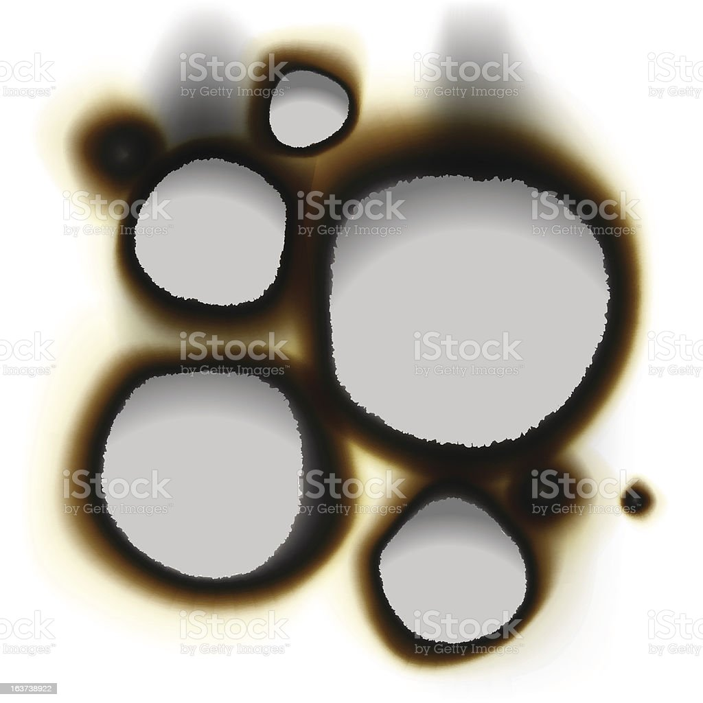 Collection of burnt holes in white paper royalty-free stock vector art