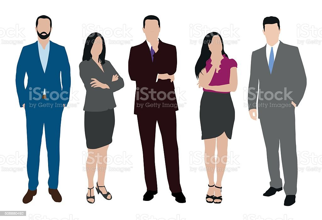 Collection of business people illustrations in different poses vector art illustration