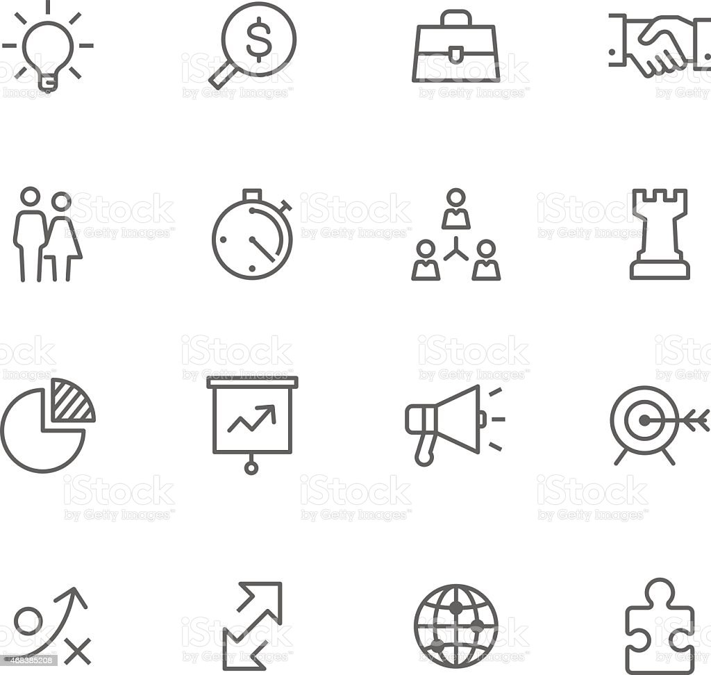 Collection of business strategy black line icons vector art illustration