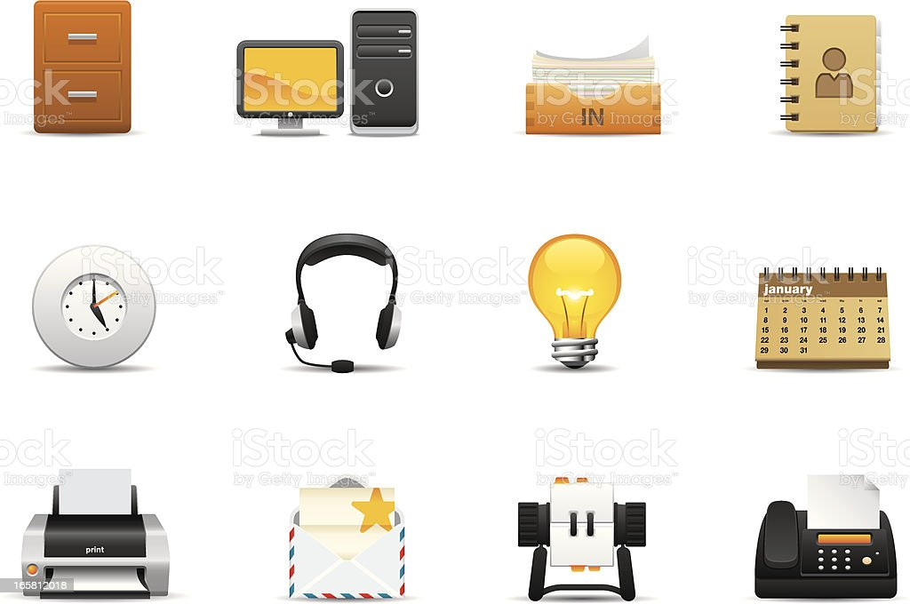 Collection of business themed icons vector art illustration